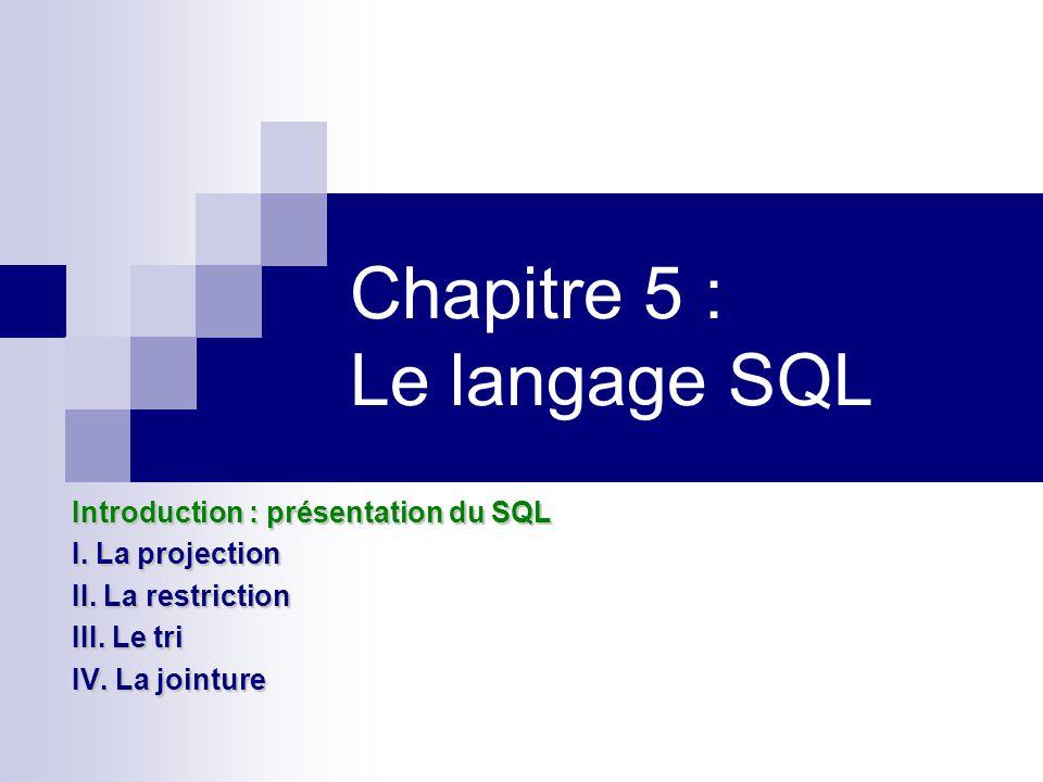 Chapitre 5 : Le langage SQL