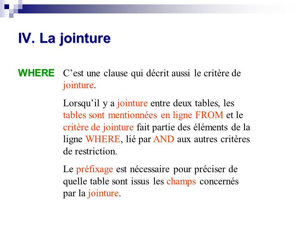 IV. La jointure WHERE. C'est une clause qui décrit aussi le critère de jointure.