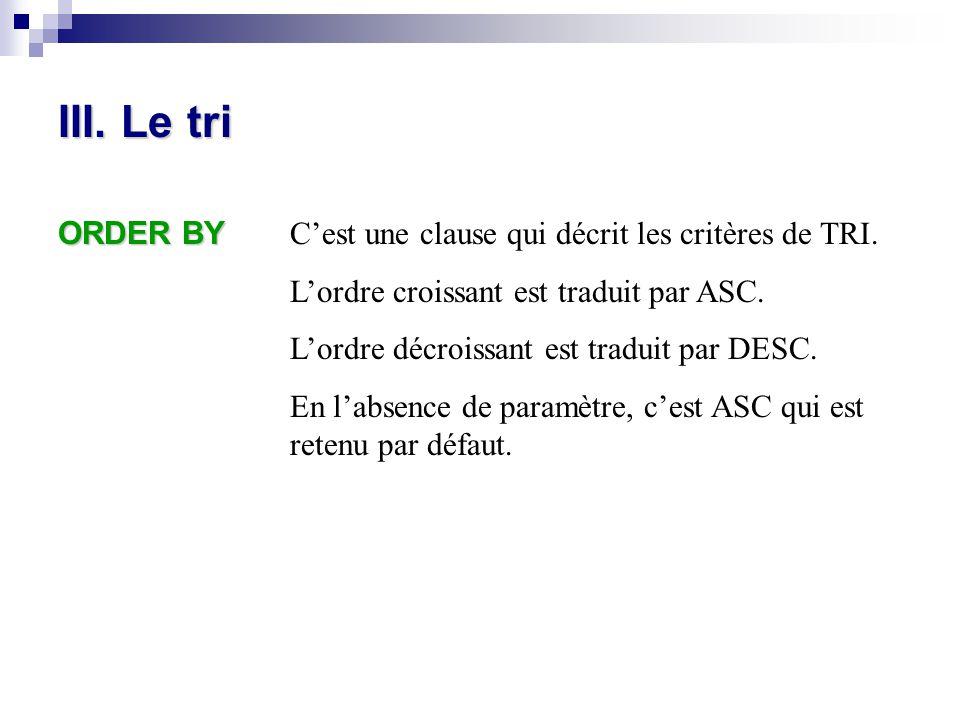 III. Le tri ORDER BY C'est une clause qui décrit les critères de TRI.