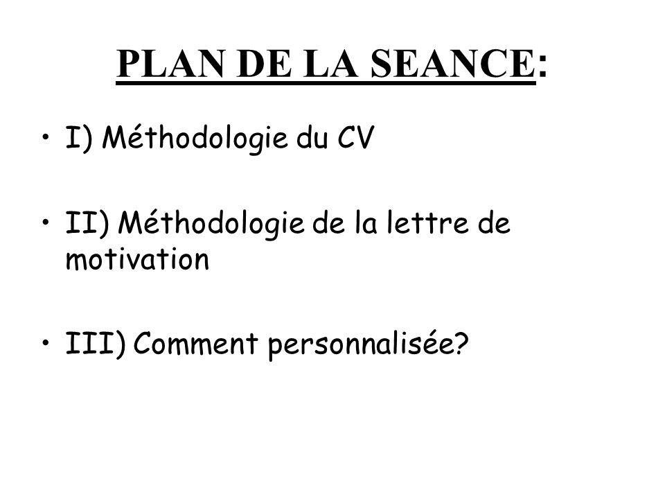 PLAN DE LA SEANCE: I) Méthodologie du CV