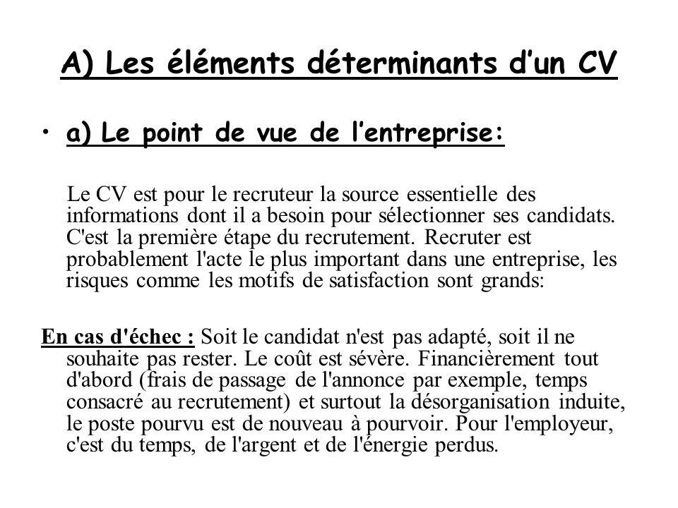 A) Les éléments déterminants d'un CV