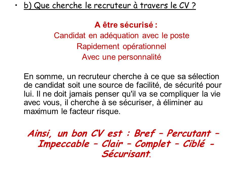 b) Que cherche le recruteur à travers le CV A être sécurisé :