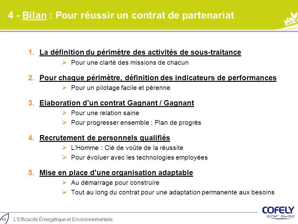 4 - Bilan : Pour réussir un contrat de partenariat