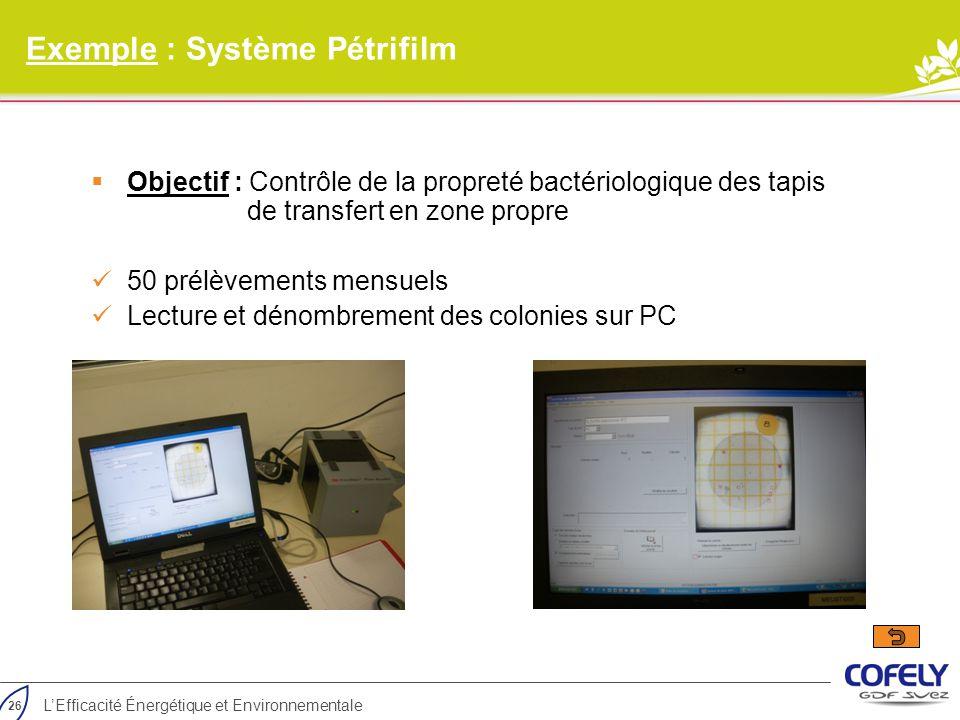 Exemple : Système Pétrifilm