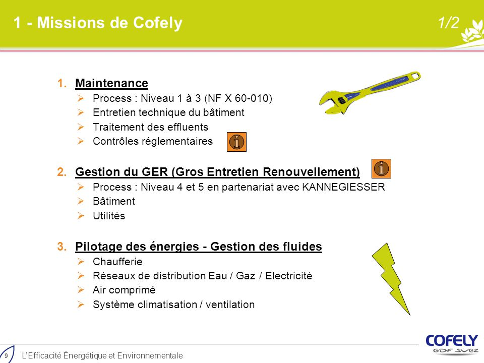 1 - Missions de Cofely 1/2 Maintenance