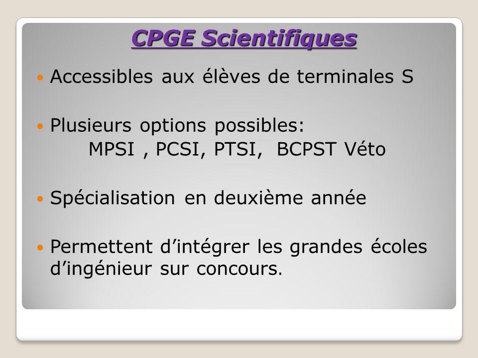 CPGE Scientifiques Accessibles aux élèves de terminales S