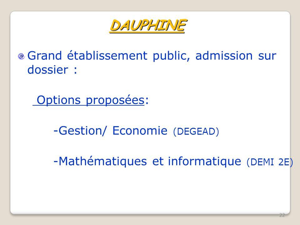 DAUPHINE Grand établissement public, admission sur dossier :