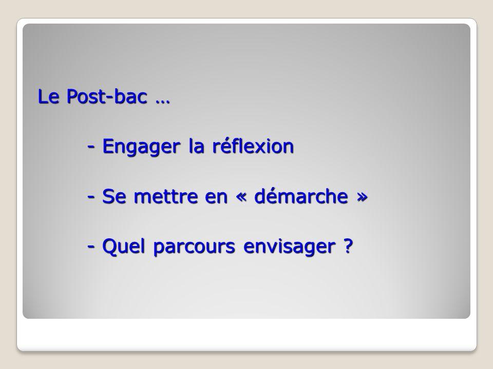 Le Post-bac … - Engager la réflexion - Se mettre en « démarche » - Quel parcours envisager