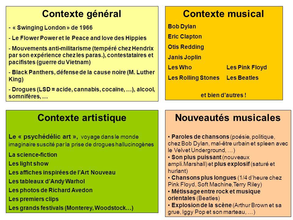 Contexte général Contexte musical Contexte artistique
