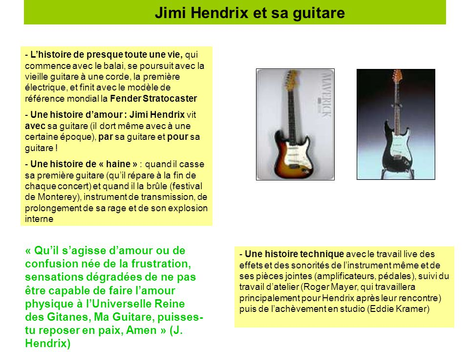 Jimi Hendrix et sa guitare