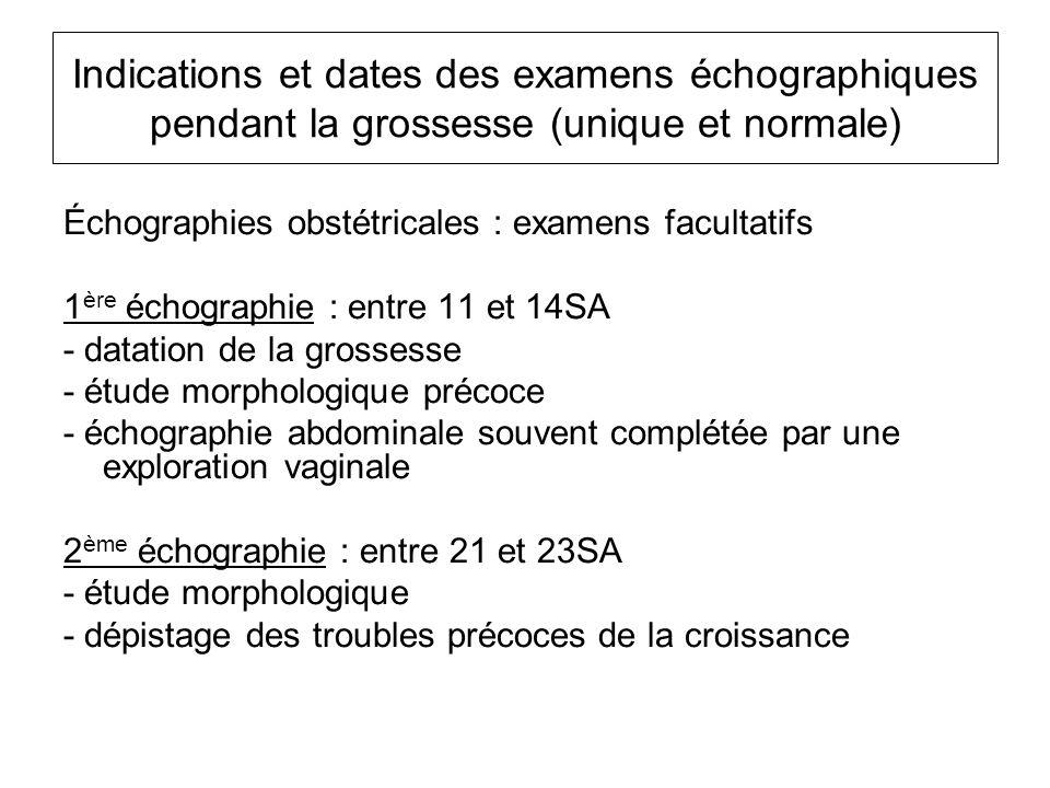 Indications et dates des examens échographiques pendant la grossesse (unique et normale)