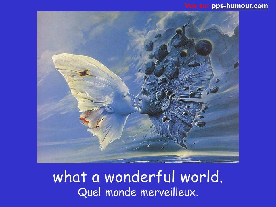 what a wonderful world. Quel monde merveilleux.