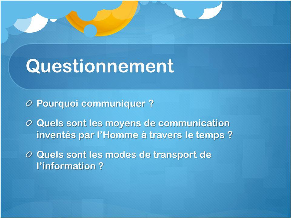 Questionnement Pourquoi communiquer