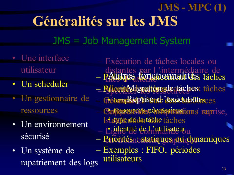 Généralités sur les JMS