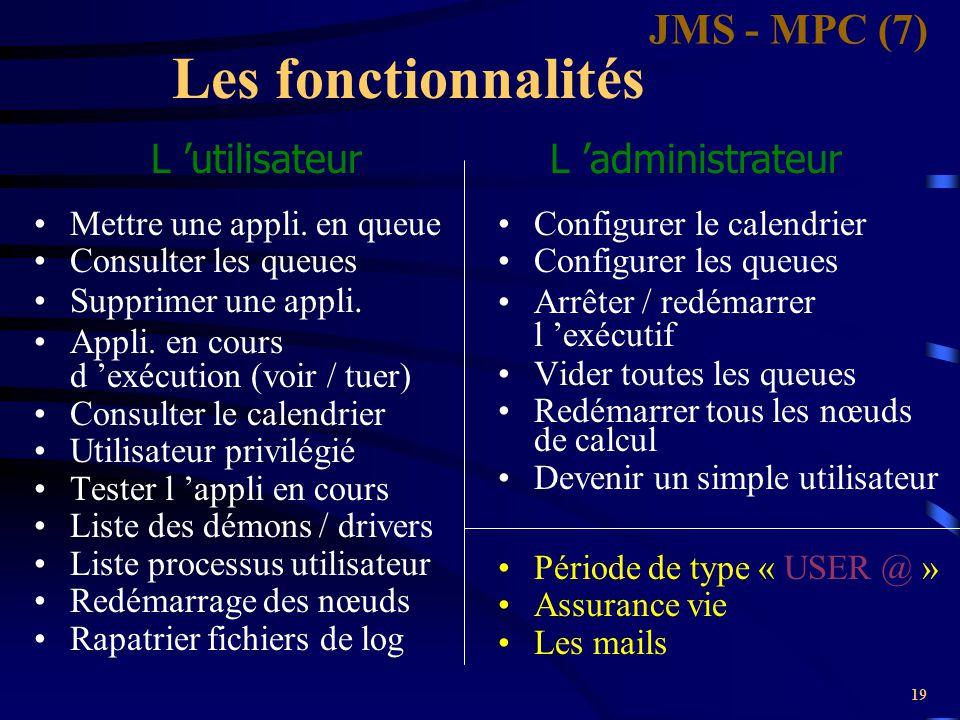 Les fonctionnalités JMS - MPC (7) L 'utilisateur L 'administrateur