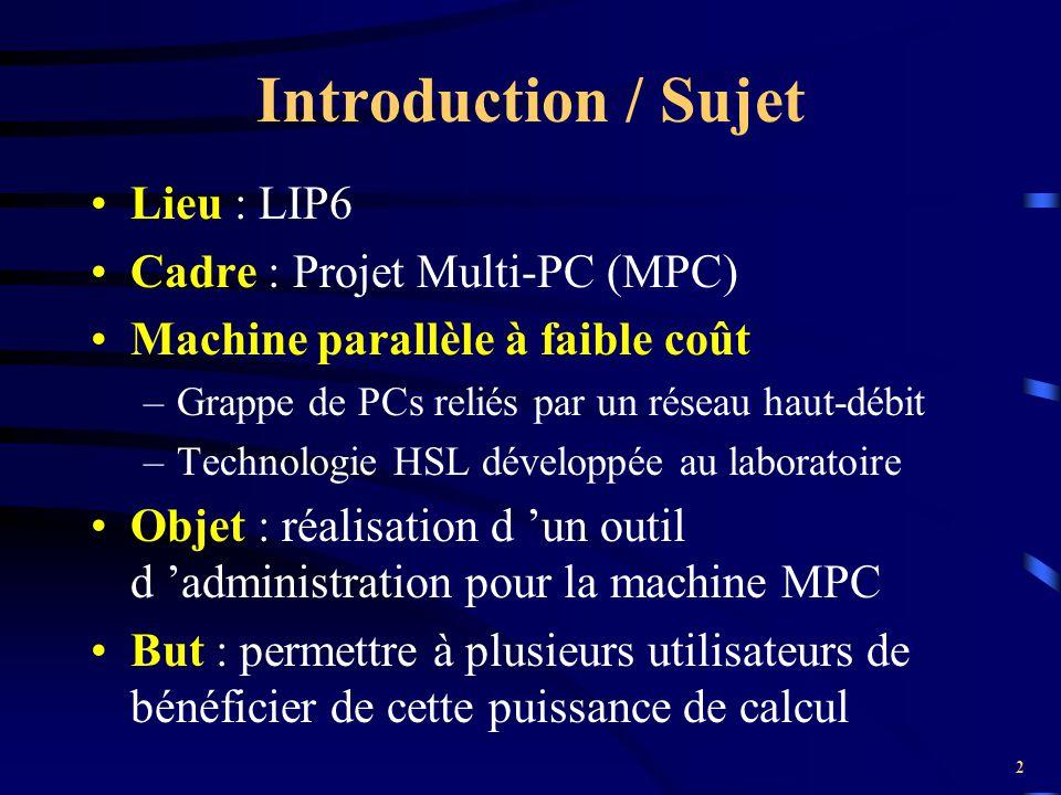 Introduction / Sujet Lieu : LIP6 Cadre : Projet Multi-PC (MPC)