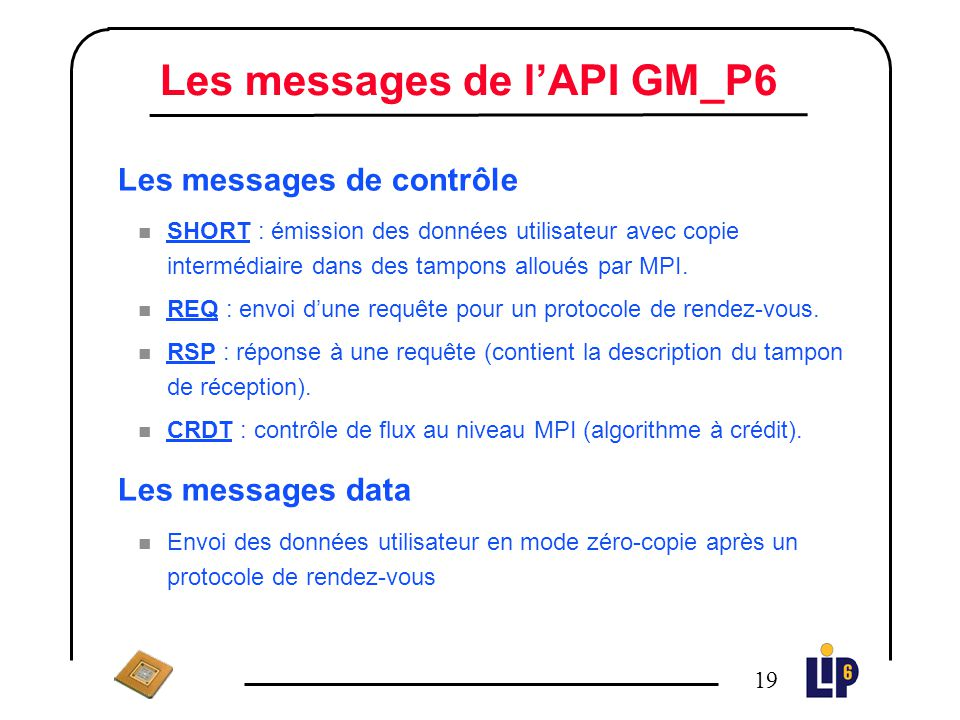 Les messages de l'API GM_P6