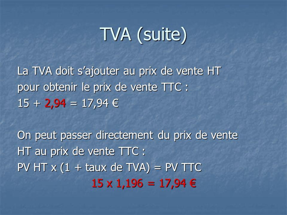 TVA (suite) La TVA doit s'ajouter au prix de vente HT