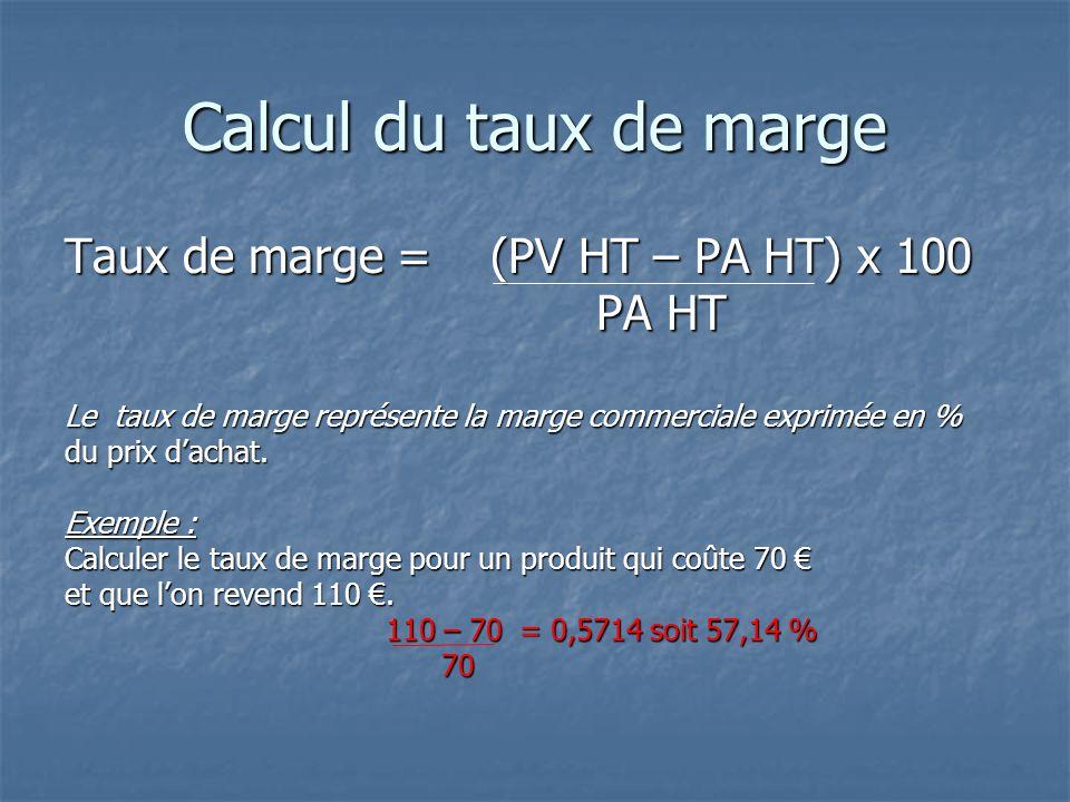 Calcul du taux de marge Taux de marge = (PV HT – PA HT) x 100 PA HT