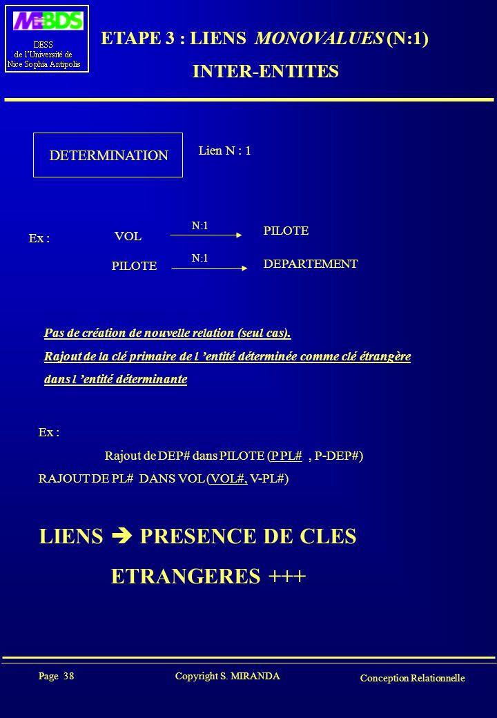 ETAPE 3 : LIENS MONOVALUES (N:1)