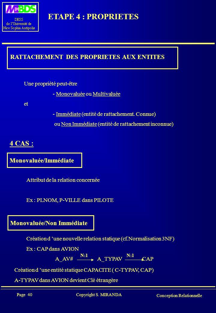 ETAPE 4 : PROPRIETES 4 CAS : RATTACHEMENT DES PROPRIETES AUX ENTITES