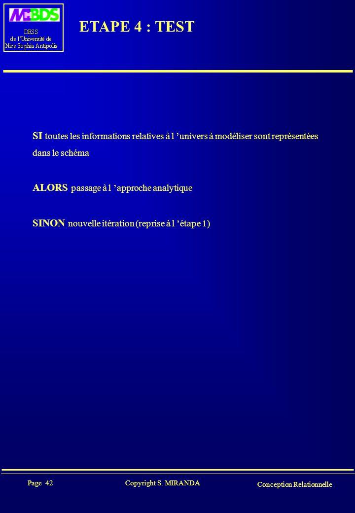 ETAPE 4 : TEST SI toutes les informations relatives à l 'univers à modéliser sont représentées. dans le schéma.