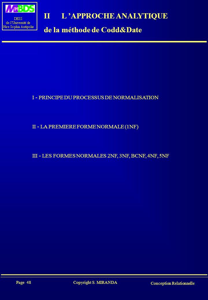 II L 'APPROCHE ANALYTIQUE de la méthode de Codd&Date