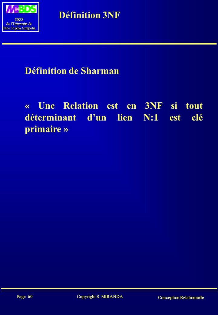 Définition 3NF Définition de Sharman.