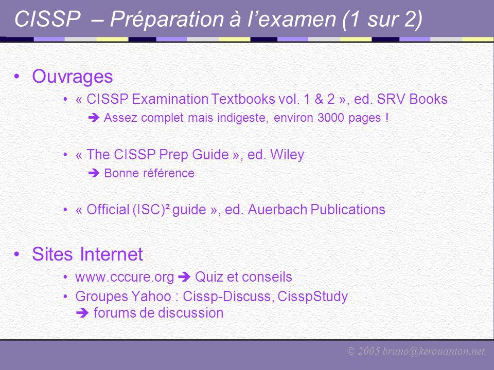 CISSP – Préparation à l'examen (1 sur 2)