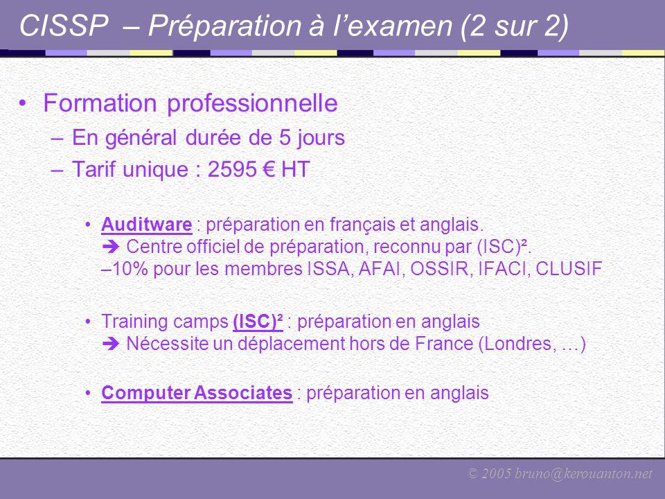 CISSP – Préparation à l'examen (2 sur 2)