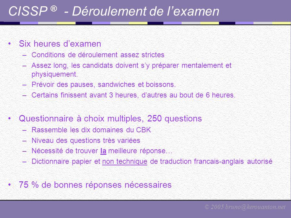 CISSP ® - Déroulement de l'examen