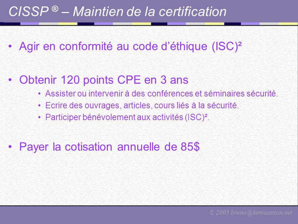 CISSP ® – Maintien de la certification