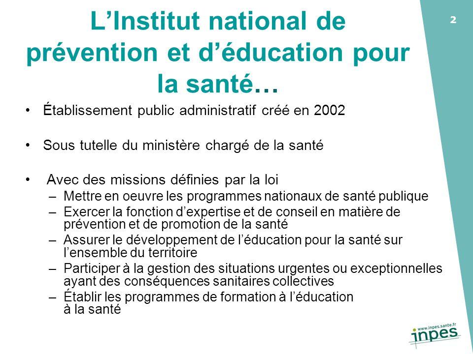 L'Institut national de prévention et d'éducation pour la santé…