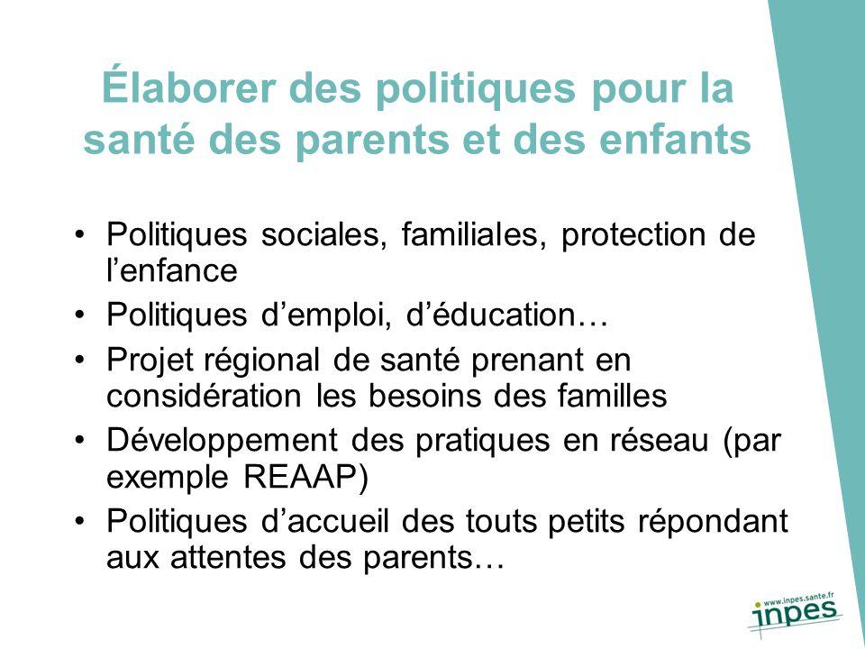 Élaborer des politiques pour la santé des parents et des enfants