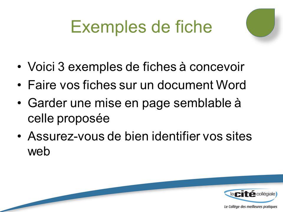 Exemples de fiche Voici 3 exemples de fiches à concevoir