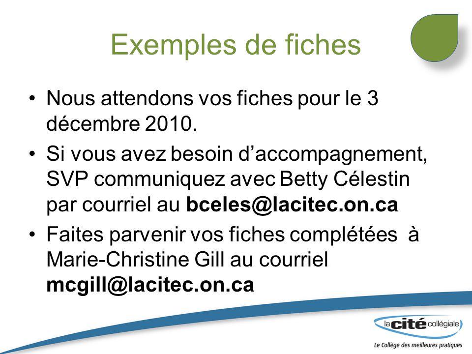 Exemples de fiches Nous attendons vos fiches pour le 3 décembre 2010.