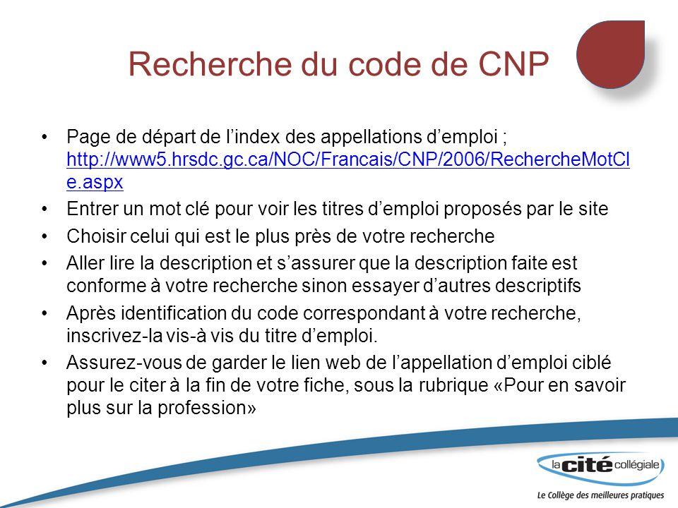 Recherche du code de CNP