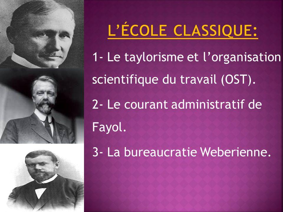 L'école classique: 1- Le taylorisme et l'organisation scientifique du travail (OST). 2- Le courant administratif de Fayol.