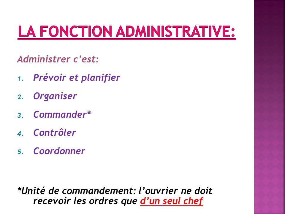 La fonction administrative: