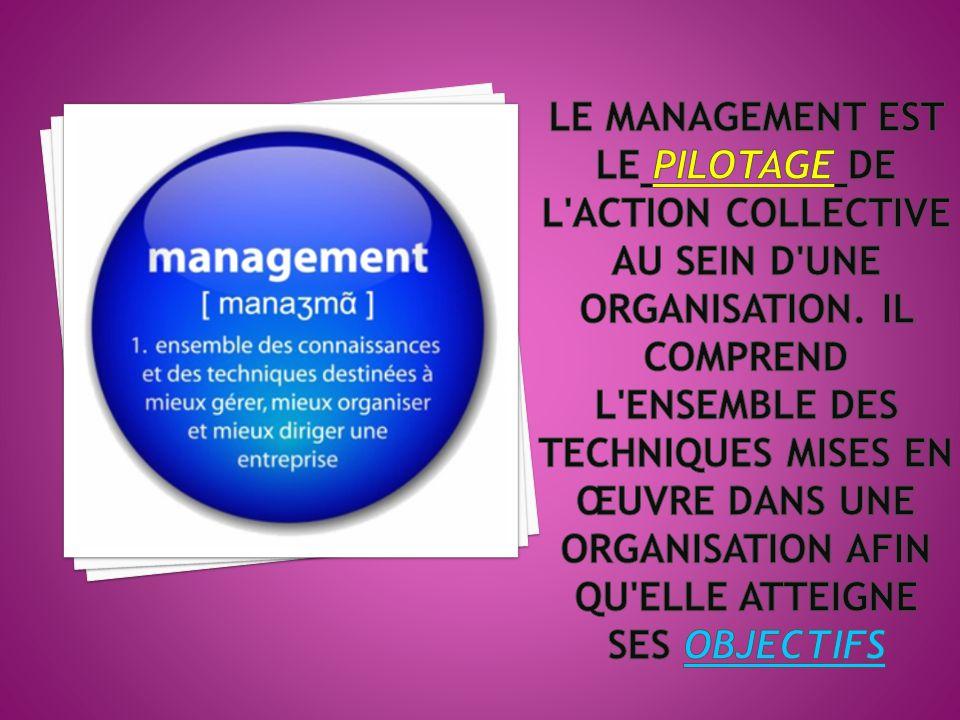 Le management est le pilotage de l action collective au sein d une organisation.