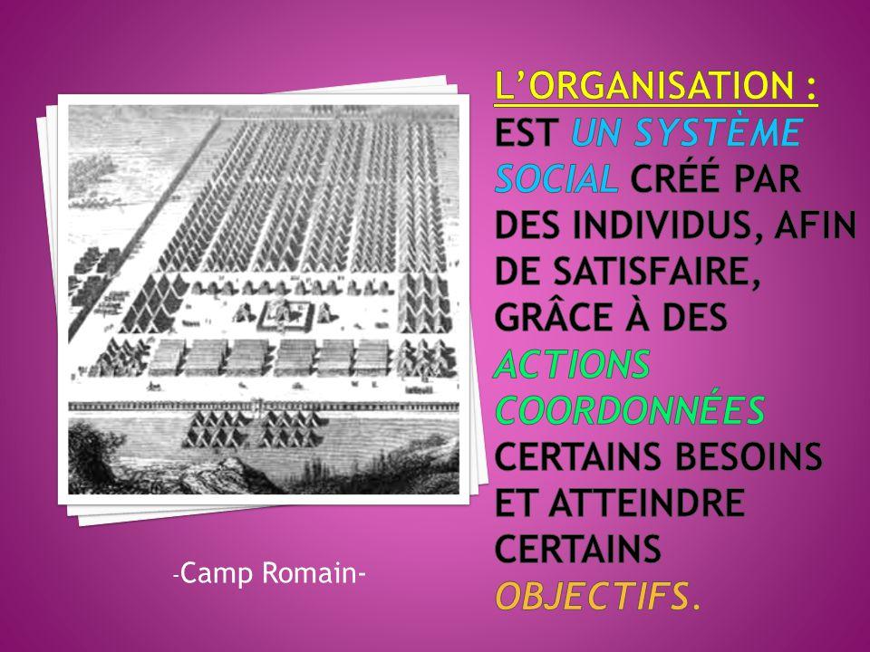 L'Organisation : est un système social créé par des individus, afin de satisfaire, grâce à des actions coordonnées certains besoins et atteindre certains objectifs.
