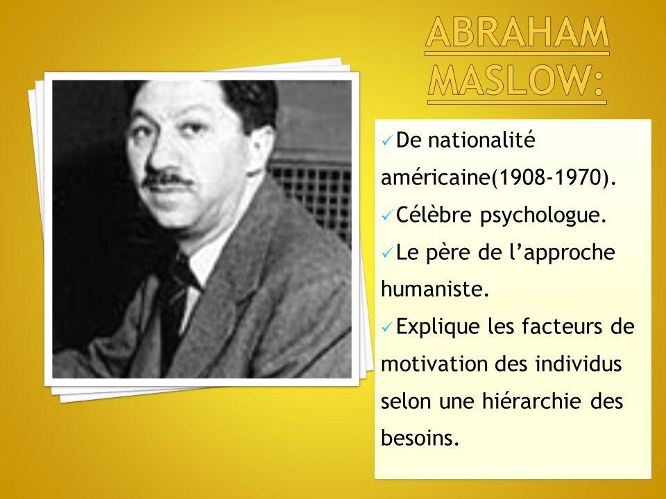 Abraham maslow: De nationalité américaine(1908-1970).