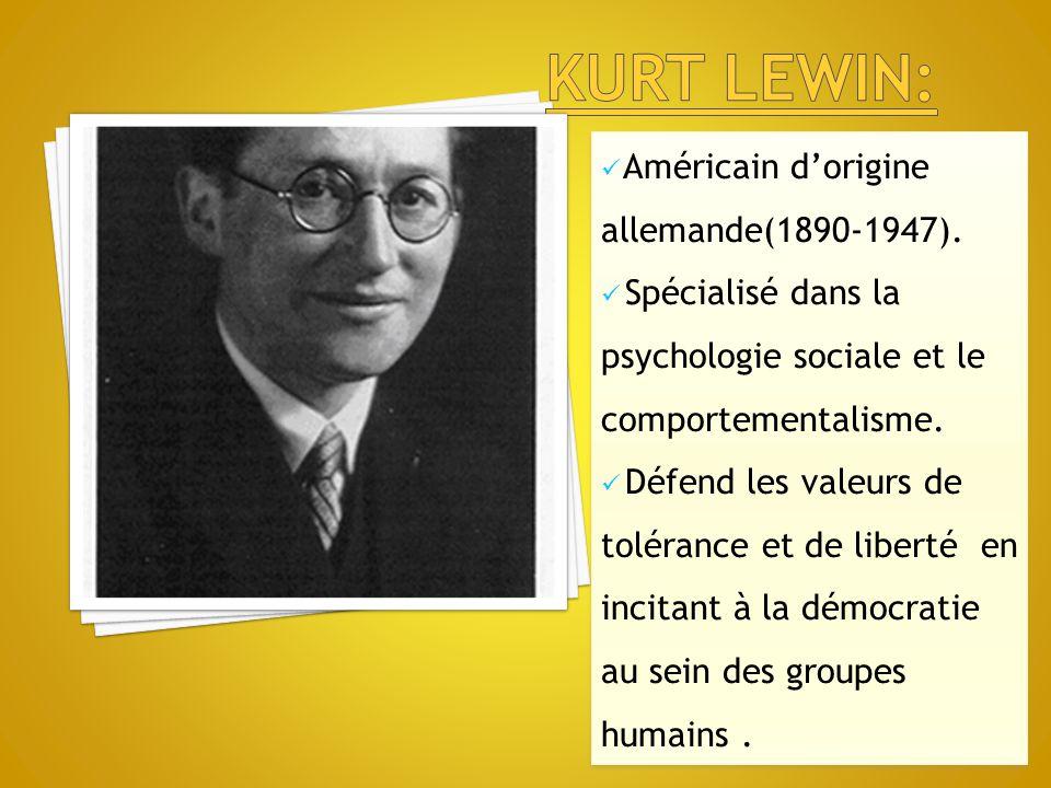 Kurt lewin: Américain d'origine allemande(1890-1947).