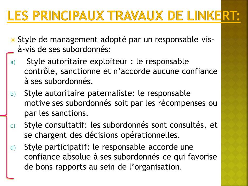 Les principaux travaux de Linkert: