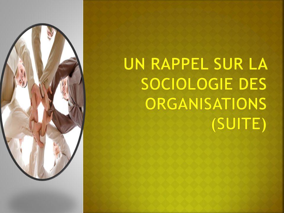 Un rappel sur La Sociologie Des Organisations (suite)