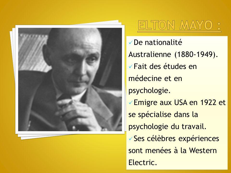 Elton mayo : De nationalité Australienne (1880-1949).