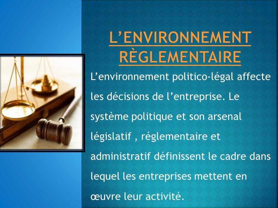 L'environnement règlementaire