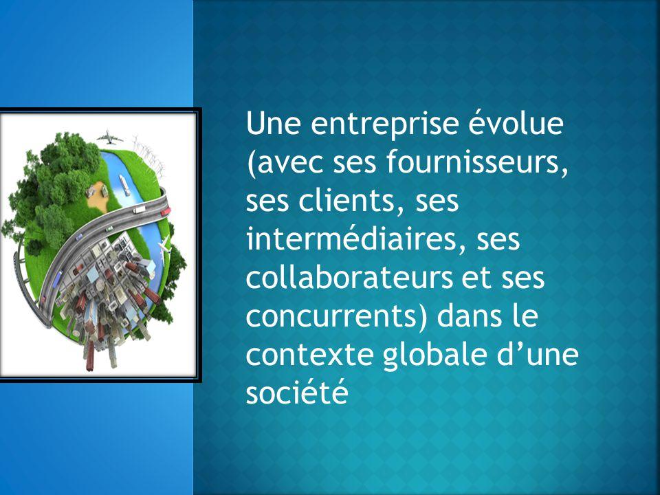 Une entreprise évolue (avec ses fournisseurs, ses clients, ses intermédiaires, ses collaborateurs et ses concurrents) dans le contexte globale d'une société
