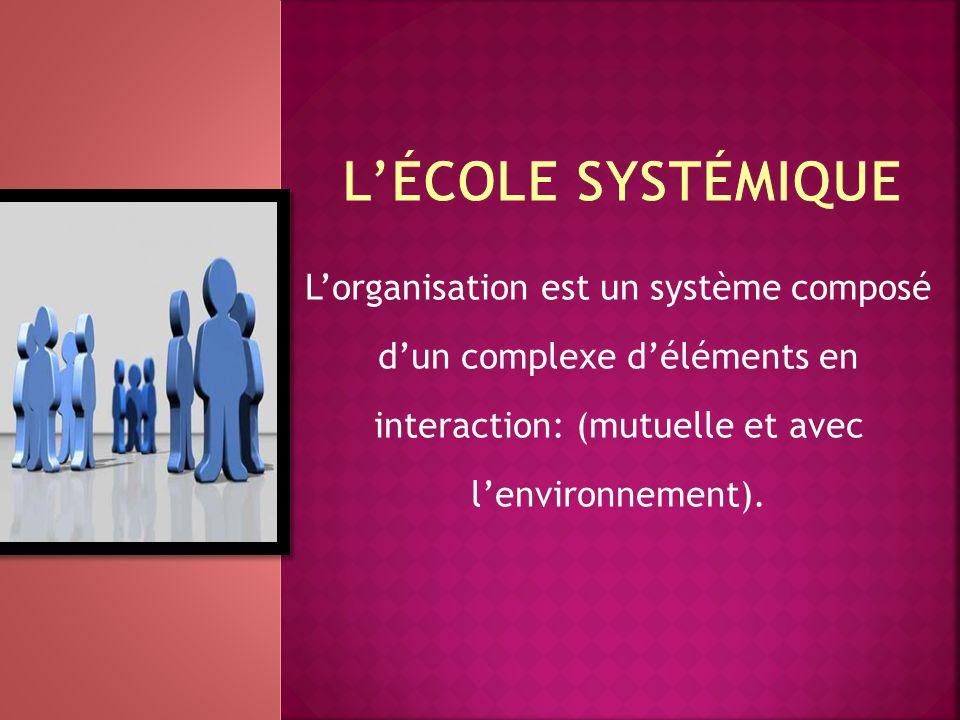 L'école systémique L'organisation est un système composé d'un complexe d'éléments en interaction: (mutuelle et avec l'environnement).