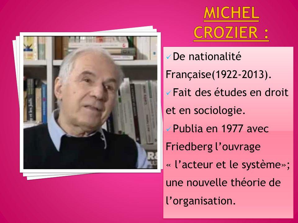 Michel crozier : De nationalité Française(1922-2013).